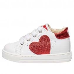 FALCOTTO HEART - Sneaker in vitello con cuore glitter - Bianco-Rosso