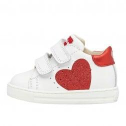 FALCOTTO HEART VL - Sneaker in vitello con cuore glitter - Bianco-Rosso
