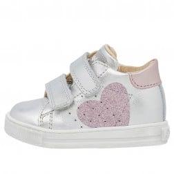 FALCOTTO HEART VL - Sneaker in vitello con cuore glitter - Argento-Rosa