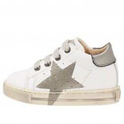 FALCOTTO VENUS - Sneaker in vitello con maxi stella colorata - Bianco-Acciaio