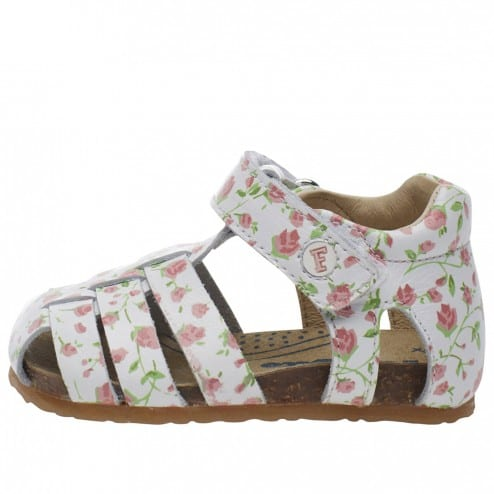 FALCOTTO BARTLETT - Closed-toe fisherman leather sandals - White/flower pattern