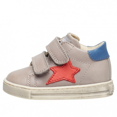 FALCOTTO SASHA VL - Sneaker with star patch - Grey-Red-Light blue
