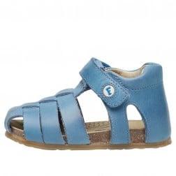 FALCOTTO ALBY - Semi-closed leather sandal - Light Blue
