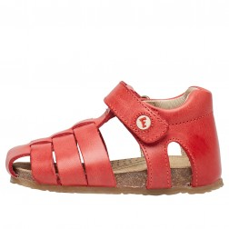 FALCOTTO ALBY - Semi-closed leather sandal - Red