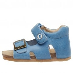 FALCOTTO BEA - Waxed calfskin sandals - Light blue