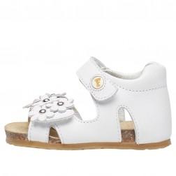 FALCOTTO SABISA - Sandal with flower appliqué - White
