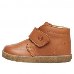 FALCOTTO CONTE VL - Shoe in brushed nappa leather with velcro closure - Cognac