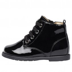 FALCOTTO ROBIN NEW - Patent leather ankle boot with laces and zip - Black