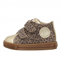 FALCOTTO MICHAEL - Metallic suede and nappa leather sneakers - Platinum