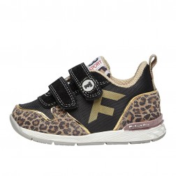 FALCOTTO HACK VL. - Sporty leopard-print suede and technical fabric sneakers - Beige-Black
