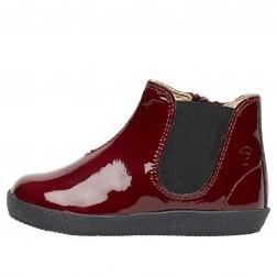 FALCOTTO CALVIN - Patent leather beatle boot - Bordeaux