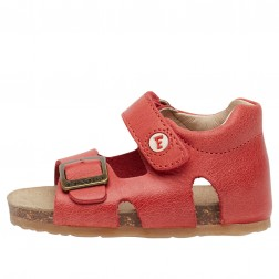 FALCOTTO BEA - Waxed calfskin sandals - Red