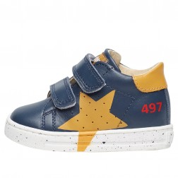 FALCOTTO SALAZAR VL - Calfskin sneaker with print - Navy