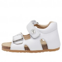 FALCOTTO BEA - Waxed calfskin sandals - White