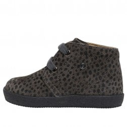 FALCOTTO CONTE - Laced shoes with pony print - Characoal grey