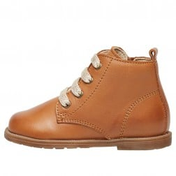 FALCOTTO ROBIN NEW - Ankle boot in brushed nappa leather with glitter laces and zip - Cognac