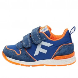 FALCOTTO HACK VL. - Sporty sneakers in a technical fabric - Light blue-Fluo orange